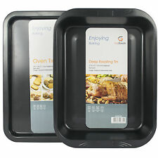 Set di 2 grandi ANTIADERENTE FORNO PER COTTURA arrostimento PAN Dish ARROSTO TIN & VASSOIO Casseruola