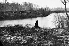 New 5x7 Civil War Photo: Soldier sitting by Chickasaw Bayou, Mississippi - 1864