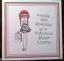 Damas Adolescente hecho a mano personalizado de tarjeta de Cumpleaños Cualquier Edad amigo hermana Primo