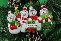 PERSONALISED CHRISTMAS TREE DECORATION ORNAMENT SNOW FAMILY OF 4