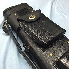 JJ Black Croc Embossed Leatherette 4 Butt 6 Shaft 4x6 Lite Weight Case C46