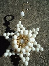 Christmas Homemade White Faceted & Gold Oat Bead Star Ornament