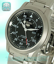 SEIKO 5 AUTOMATIC MILITARY STYLE BLACK FACE STAINLESS STEEL SNK809K1