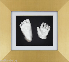 New Born Unique Gift Baby Casting Kit Silver Hand/Foot 3D Brushed Gold Box Frame