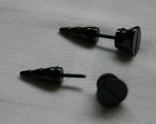 Mens boys women single spike fake plug earring screw look black stainless steel