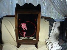 Betty Boop Mirror Mounted On Vintage Medicine Cabinet With Towel Rack