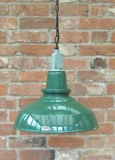 "18"" Green Thorn AEI Industrial Vintage Enamel Factory Pendant Lamp/Light REWIRED"