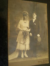 Cdv cabinet photograph wedding bride and groom Anklam Germany c1900s