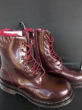 Pair Womens Lace up Burgundy Patent BOOTS MUSIC FESTIVAL Furry Punk Rock UK 5