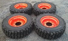 4 NEW 10X16.5 Skid Steer Tires & Rims for Bobcat-10-16.5 10 ply-NON DIRECTIONAL