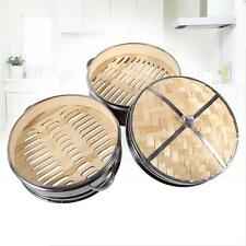 2 Tiers x Stainless Steel Steamer Dim Sum Basket Rice Pasta Cooker Bamboo Lid TP
