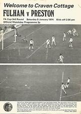 Football Programme - Fulham v Preston North End - FA Cup - 5/1/1974