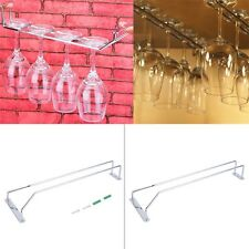 Wine Glass Rack Hanging Chrome Plated Stemware Holder Under Cabinet Home Bar FE