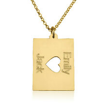 Handmade 10k Solid Yellow Gold Necklace with Two Names and Middle Heart