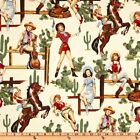 ALEXANDER HENRY FABRIC- COTTON- VINTAGE LOOK! From The Hip Pinup- Natural
