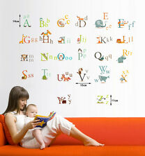 Grand ALPHABET ABC ANIMAUX pépinière children's wall stickers autocollants Feuille énorme
