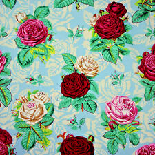 Rose Bed Cotton Quilt Fabric Blue  Floral  Westminster Snow Leopard  BFab