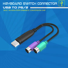 Dual PS/2 PS2 Female to USB Male Cable Adapter Converter For Keyboard Mouse