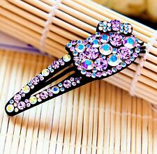 Hair Clip Bobby Pin using Swarovski Crystal Hairpin Hello Kitty Cat Purple AB