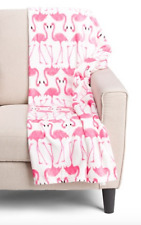 Flamingo Throw Blanket White Pink Storehouse Soft Plush Fleece 60 x 70 inch NWT