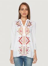 NWT $214 Johnny Was M White Embroidered Tunic Cotton Medium