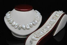 "Natural White Biwa Shape Pearl Necklace Bracelet Jewelry Sets 18"" & 7.5"""