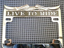 "MOTORCYCLE LIVE TO RIDE LICENSE PLATE FRAME EAGLE CHROME 7 1/4"" X 5 1/4"""