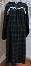 Women's Carole vintage USA plaid blue green cotton flannel +lace nightgown Large