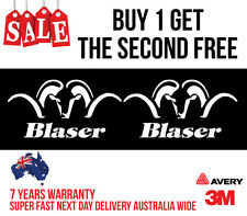 2 x BLASER HUNTING DECAL STICKER FOR CAR, UTE, ESKY 200MM WIDE IN WHITE