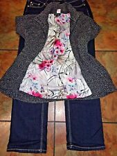 Women's Plus Clothing Lot  Jeans  Silky Tank Top  Cardigan  size 14/1X
