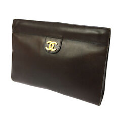 Auth CHANEL CC Clutch Bag Pouch Black Brown France Leather Vintage TG00182