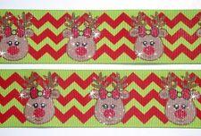 1.5 LIME RED CHEVRON GLITTER REINDEER CHRISTMAS GROSGRAIN RIBBON 4 HAIRBOW BOW