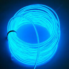 5m 2.3mm Neon Clear Blue Glow Light EL Wire Rope 110-220V AC US Plug New