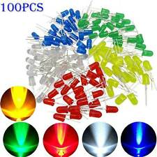 100pcs LED Light Emitting Assortment Kit Diodes White Green Red Blue Yellow 3mm