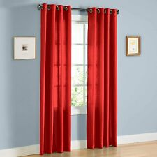 """2 PANELS SOLID GROMMET FAUX SILK WINDOW CURTAIN DRAPES TREATMENT MIRA RED 63"""""""