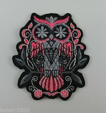 EMBROIDERED IRON ON PATCH PINK OWL PUNK MOTORRAD MOTOCYCLE T-SHIRT FREESHIPPING