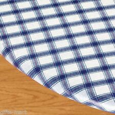 """BLUE plaid Elastic fitted vinyl outdoor 56"""" round patio table cover tablecloth"""