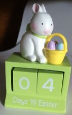 Countdown Days 'Till Easter Blocks Perpetual Calendar bunny rabbit green