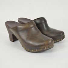 DANSKO Women's RAE Brass Rivet Stud High Heel CLOGS / Brown Leather 39