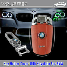 Brown Remote FOB  Key Holder Cover Case With Keychain For BMW series