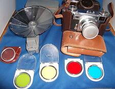 Zeiss Ikon Contax W/ Zeiss Sonnar 50mm f1.5 & FLASH & LENS FILTER KIT MINT SHAPE