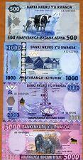 SET, Rwanda, 500;1000;2000;5000 Francs, 2008-2014, P-31;32;33;34 UNC