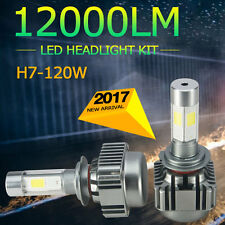 2x 120W H7 LED Headlights COB 6000K Light Truck Car Bulb Kit White Beam 12000LM