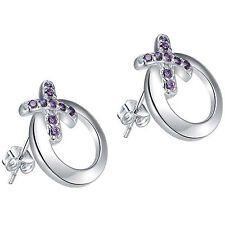925 Sterling Silver Open Circle Round Kiss Cross Purple Crystal Stud Earrings 63