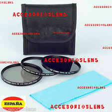 Kit 3 filtros HD  52 mm  UV CPL ND8 para Sony Canon Nikon Tamron Pentax Sigma