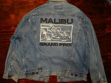 Vtg 90's MALIBU GRAND PRIX Blue Jean FORMULA ONE RACE CAR Denim TRUCKER Jacket L