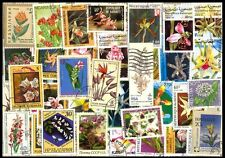 ORCHIDS On Stamps -50Different Large-Worldwide Mixed Thematic Mostly Used Stamps