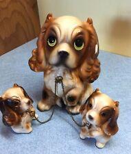 VINTAGE JAPAN Brinn MOM DOG & 2 PUPS ON CHAINS Cocker Spaniel FIGURINE T-1733