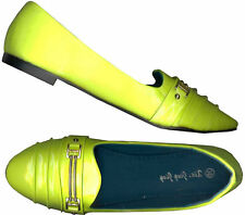 NWOB  ♥GLOSSY LIME YELLOW  WOMEN'S FLATS♥ LOAFER STYLE/ SLIP ONS_39 /38