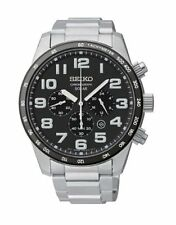 Seiko Men's Solar Black Dial Stainless Steel Chronograph Day Date Watch SNE039
